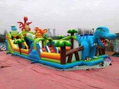 新款充气蹦蹦床恐龙乐园城堡图片广场摆摊项目